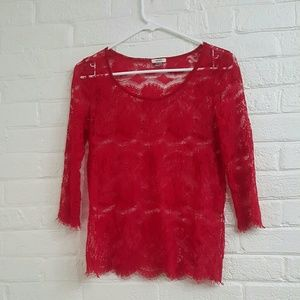 Fossil Red Lace Top